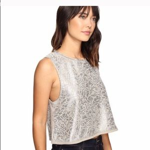 FREE PEOPLE women's silver embroidered crop top